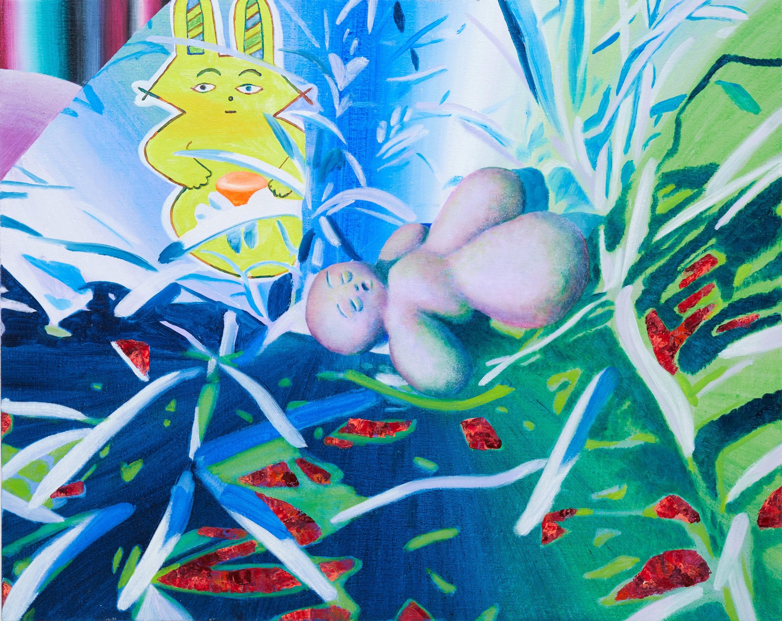 Sleeping stone ver.2 2017 油彩在畫布 oil on canvas 72.5 x 91.5 cm