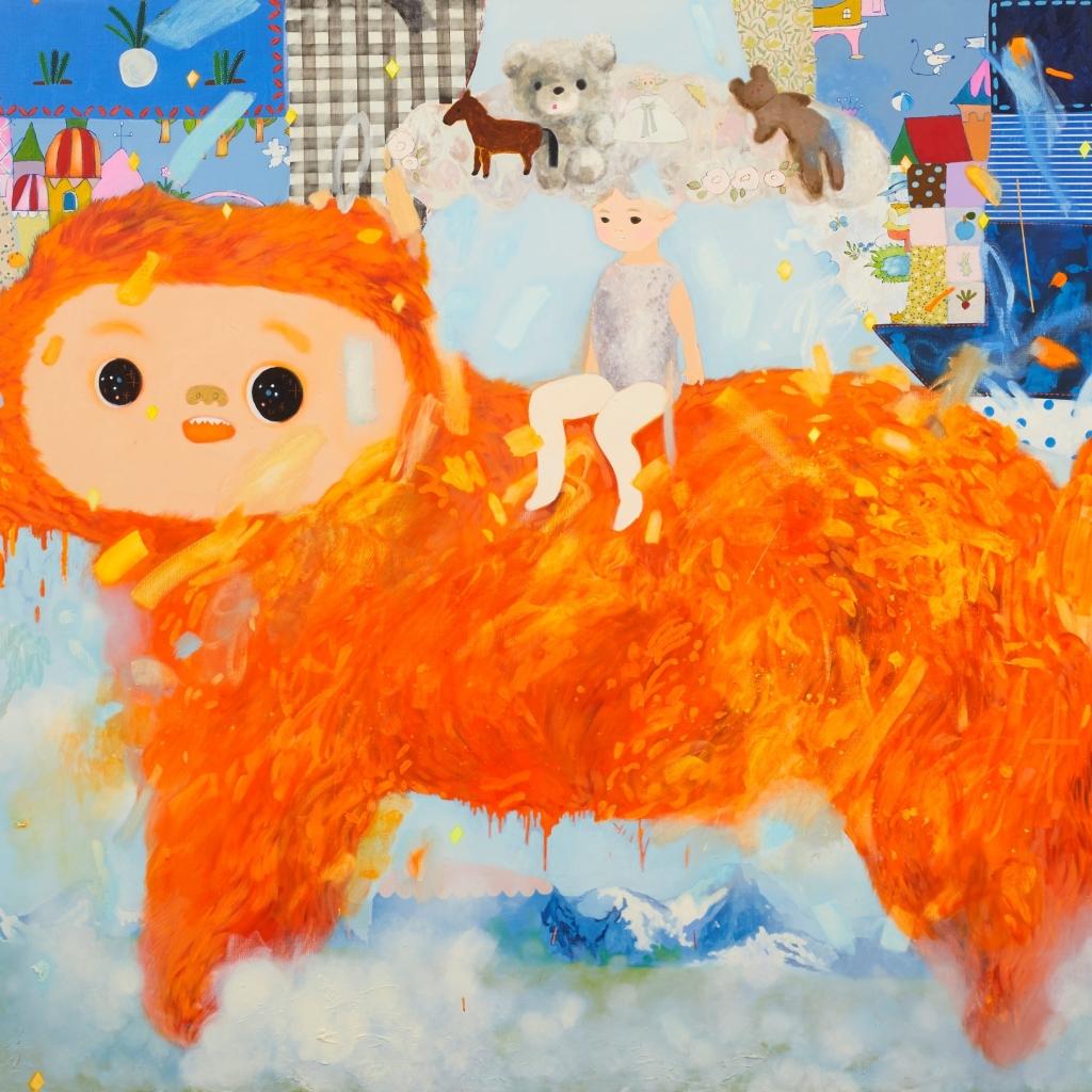 オレンジ色の犬 2020 油彩在畫布 oil on canvas 181.8 x 227.3 cm