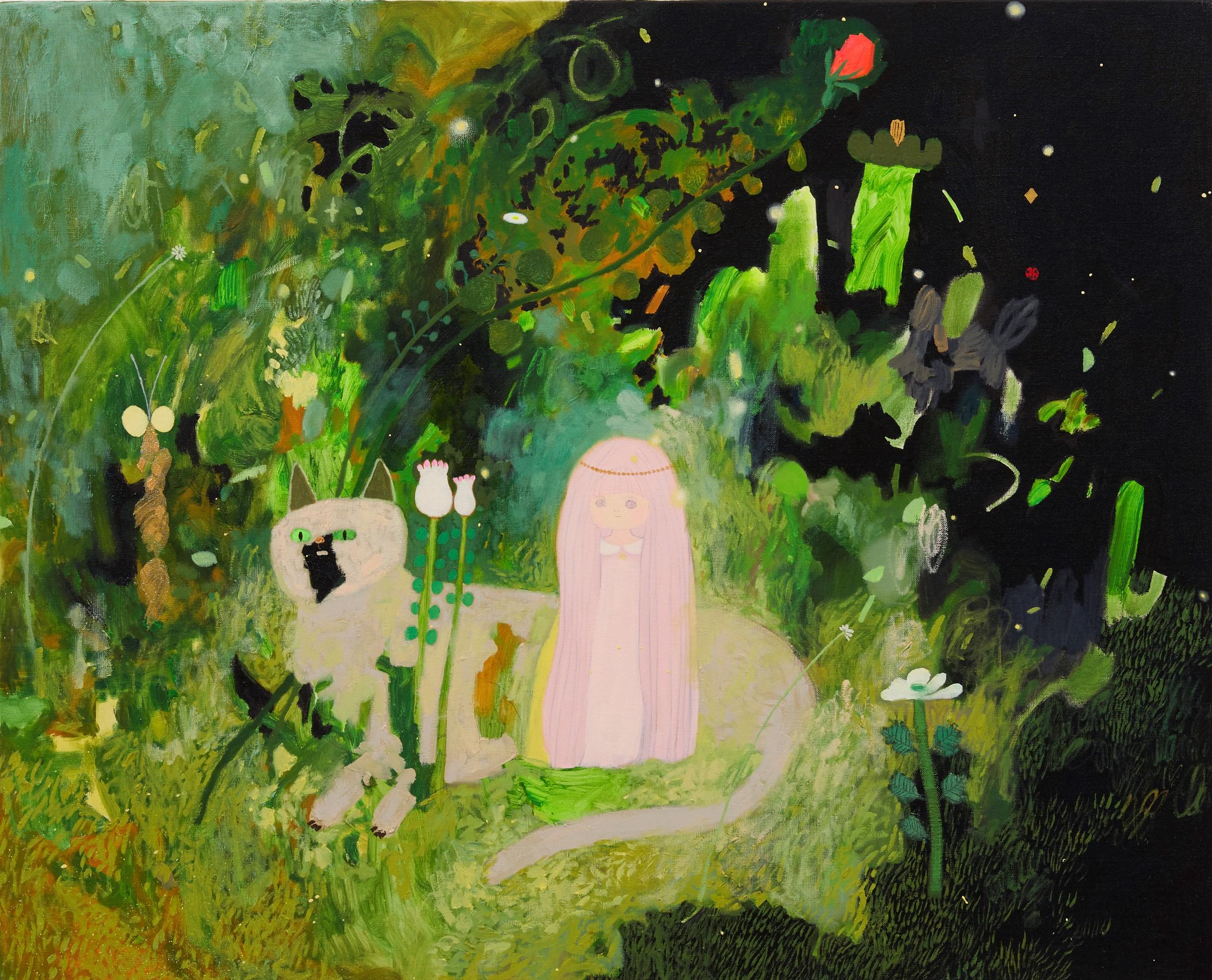 ホタルみた 2020 油彩與亮粉在畫布 oil and glitter on canvas 65.2 x 80.3 cm